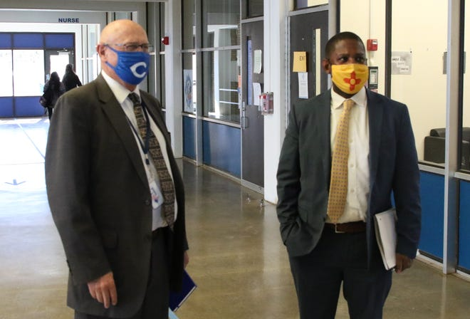 Carlsbad Municipal Schools Superintendent Dr. Gerry Washburn (left) and New Mexico Public Education Department Secretary Ryan Stewart during a visit to Carlsbad High School on Feb. 9, 2021. Washburn welcomed a vote from the Carlsbad City Council extending a Memorandum of Understanding for school resource officers.