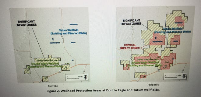 A screenshot from a Carlsbad City Council document shows wellhead protection areas at the City's wellfields. Councilors passed an amendment on March 9, 2021 to the City's Wellhead and Water Facilities Protection Ordinance.