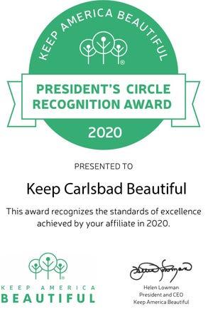 President's Circle Recognition Award to Keep Carlsbad Beautiful.