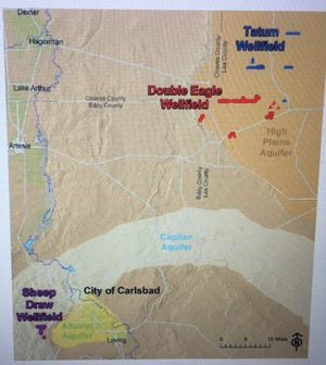 A screenshot from a City of Carlsbad document shows the City's wellfields.
