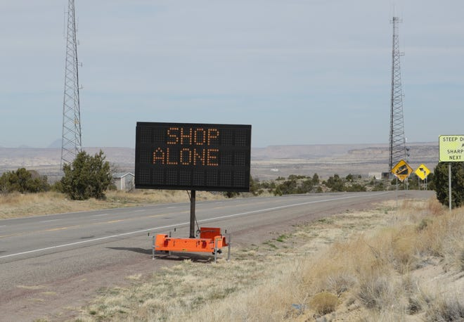 The New Mexico Department of Transportation is using electronic message boards to advise the public to shop alone to reduce the spread of COVID-19. A message board is situated on New Mexico Highway 371 south of Farmington. The Eddy County Commission approved funding for two message boards for the Eddy Public Works Department on March 16, 2021.