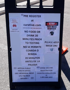 A sign at the drive-thru COVID-19 testing clinic in Artesia. COVID-19 vaccinations are well underway in Eddy County.