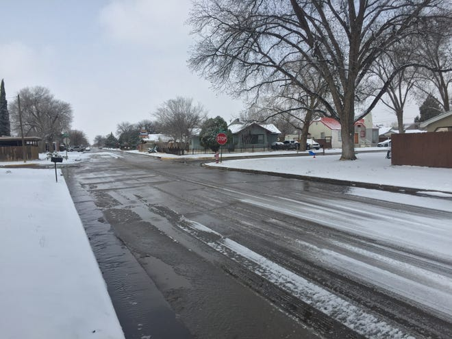 Snow started to melt in Eddy County late on the morning of Feb. 18, 2021. An overnight storm dumped up to five inches of snow in the Queen area west of Carlsbad, according to the National Weather Service.