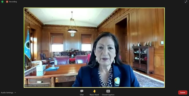 Interior Secretary Deb Haaland speaks during a forum on federal oil and gas leasing hosted by the Interior Department, March 25, 2021 via zoom.