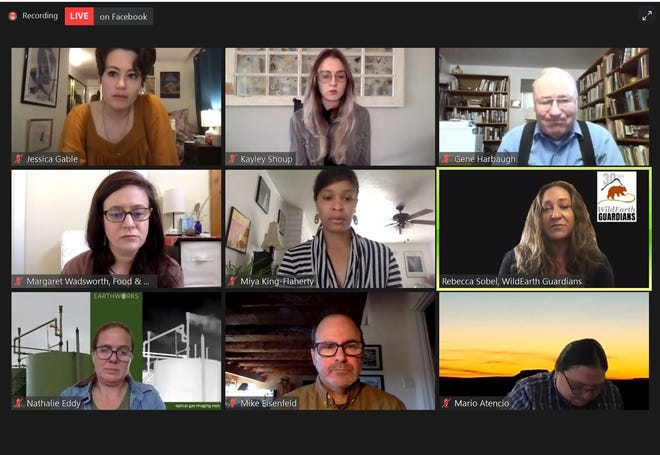 A screenshot of a virtual press conference held by environmentalists regarding oil and gas pollution, April 14, 2021 via Zoom.