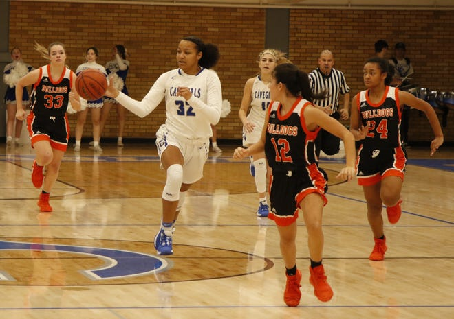 Allie Meyers runs a fastbreak against Artesia on Jan. 17, 2020. The Cavegirls and Lady Bulldogs meet this Saturday at The Cave in Carlsbad to open up the season. Up to 425 fans will be allowed inside The Cave.