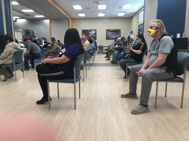 The waiting and recovery room for patients after they have received their COVID-19 vaccination at the Artesia General Hospital on Feb. 23, 2021.