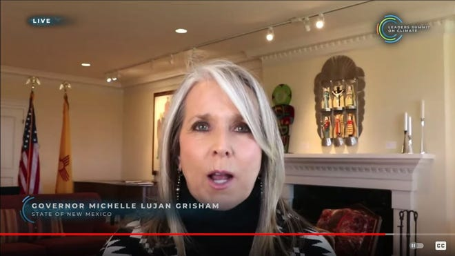 New Mexico Gov. Michelle Lujan Grisham speaks virtually during the Leaders Summit on Climate, April 22, 2021.
