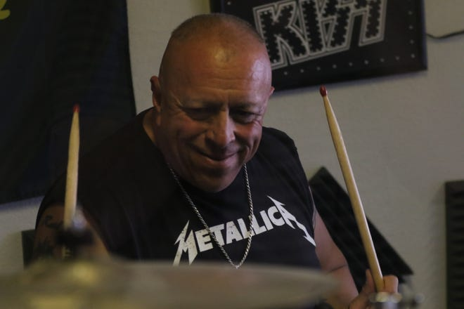Drummer Raul Ortega plays with his band Stranded, April 27, 2021 in Carlsbad.