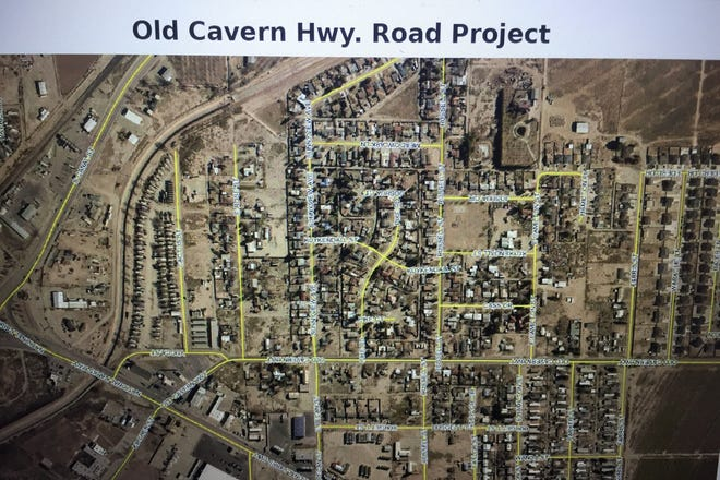 A screenshot from the May 11, 2021 Carlsbad City Council meeting indicates a proposed project for Old Cavern Highway in Carlsbad.