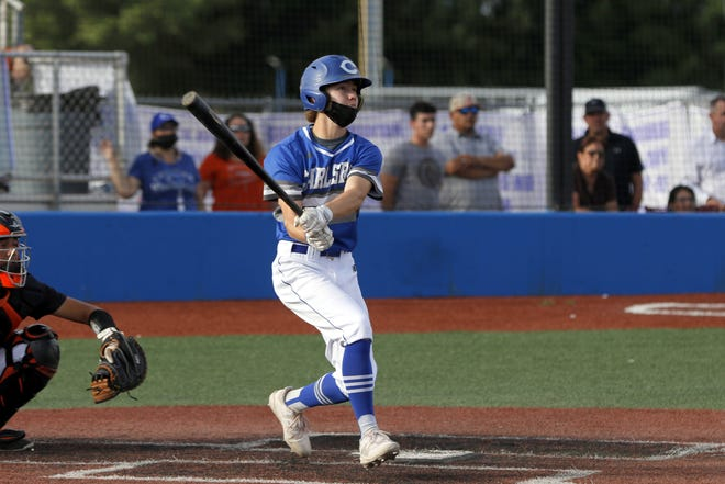 Carlsbad's Tristan Thomas watches his hit go deep into the outfield in the fourth inning. Thomas got a double off the hit and scored the first run of the game against Artesia on May 21, 2021. Artesia won, 5-3.