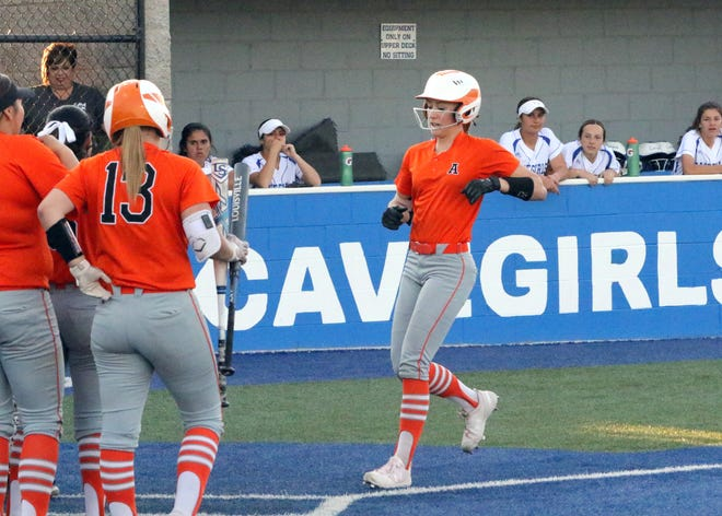Presley Skinner crosses home plate during Artesia's game against Carlsbad in 2019. On May 7, 2021 Skinner scored the go-ahead run in the 8th inning to help the Lady Bulldogs beat the Cavegirls, 4-2 in extra innings.