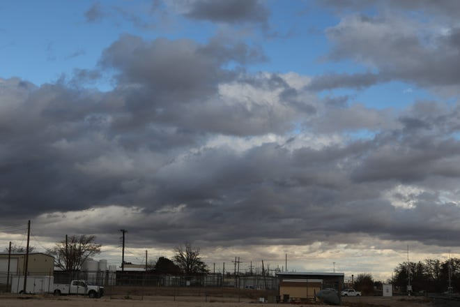 Clouds dot the Carlsbad landscape as rains fell in Eddy County.