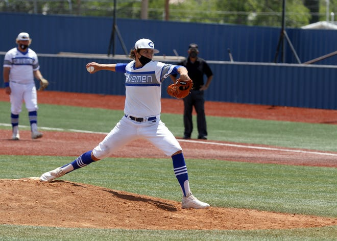 Nolan Perry pitches against Goddard during Game 1 of Carlsbad's doubleheader on May 22, 2021. Carlsbad won, 10-0 in a six-inning mercy-rule game and Perry ended up with a no-hitter.