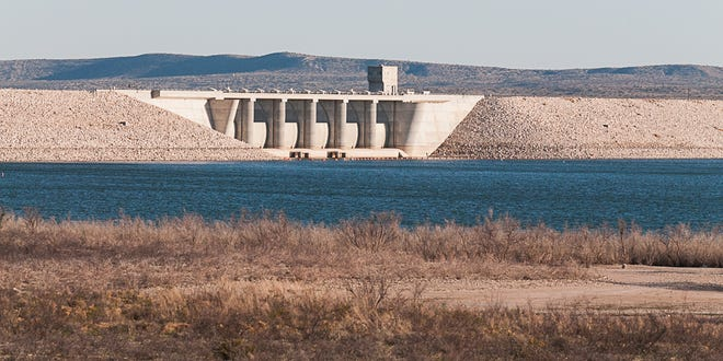 A view of the dam at Brantley Lake.