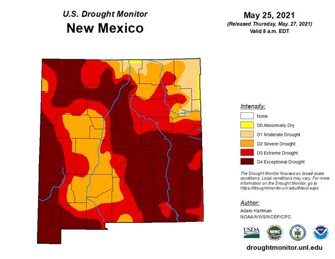 The U.S. Drought Monitor for New Mexico as of May 27, 2021.