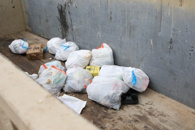 Garbage waits to be picked up April 14, 2020, at the Eddy County Artesia Fairground Convenience Station.