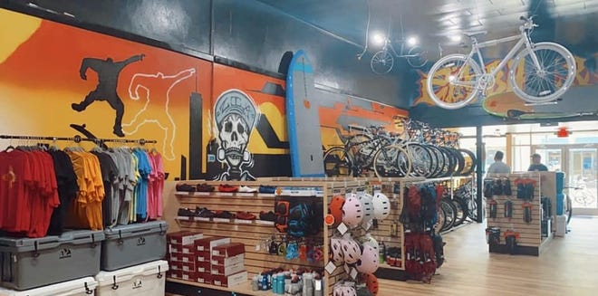 The inventory at Zia Bike & Board Shop includes clothes, safety gear, parts and of course plenty of bikes and both skate boards for land and paddle boards for water.