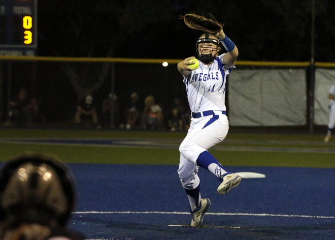 Haven Schoolcraft pitches against Clovis on June 1, 2021. The sophomore struck out nine batters in the 14-0 win.