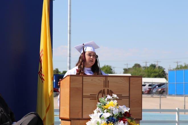 Carlsbad Early College High School Valedictorian Azali Luna address graduating seniors on June 4, 2021.
