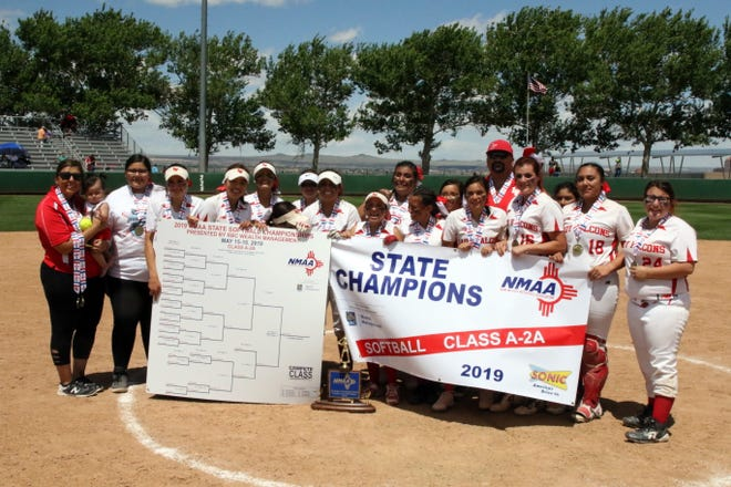 Loving displays its championship banner on Friday at UNM. Loving beat Eunice, 16-4 to claim the school's 17th state championship in softball, the most in New Mexico high school history.