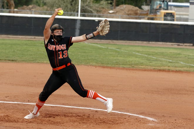 Artesia's RyLee Crandall, the 2021 NM Gatorade Softball Player of the Year pitches against Roswell in May. Crandall looks to lead the Lady Bulldogs to a third straight state 4A championship.