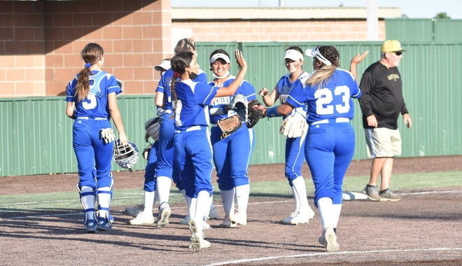 Carlsbad celebrates its win against Hobbs on June 17, 2021. Carlsbad swept the season series and claimed the 4-5A District title with the win.