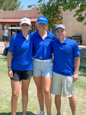 Left to right: Lindsey Carter, Cannon Hughes and Eli House pose following the District 4-5A tournament at the Riverside Country Club in Carlsbad on June 7, 2021. Carter, Hughes and House will all be competing in the state tournament in two weeks after their showing at the district event.