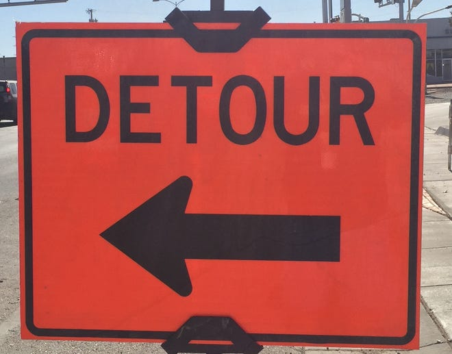 A detour sign greets travelers on United States Highway 285 in Artesia on Dec. 1, 2020. Construction on the West Loop Relief Route around Carlsbad is anticipated to start in August.