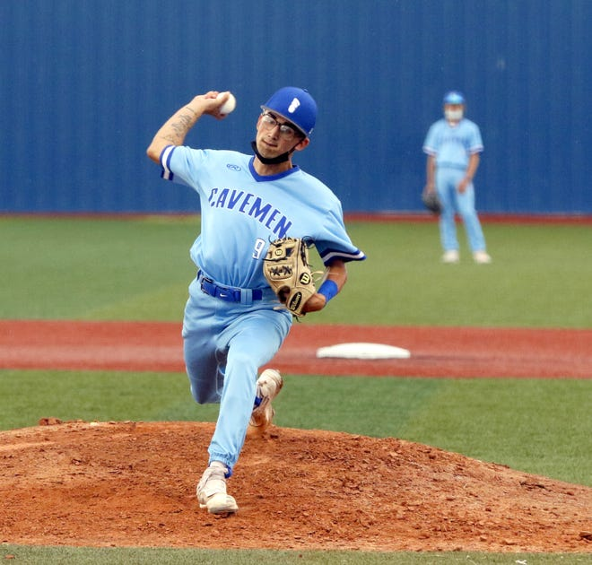 Carlsbad's Jacob Echavarria pitches against Clovis in Game 1 of a doubleheader on June 1, 2021. Echavarria threw a five-inning no-hitter for Carlsbad, striking out six Wildcats in a 10-0 win.