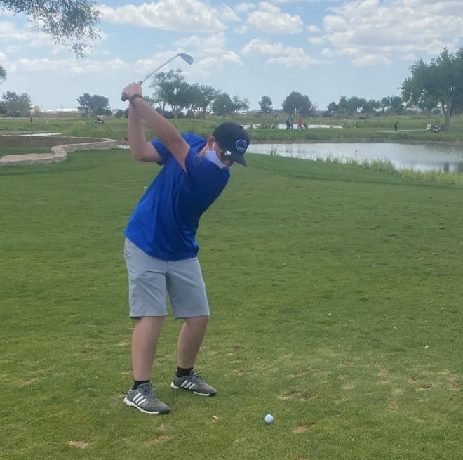 Dylan Rhoads takes a fairway shot at the Riverside Country Club on Thursday in preparation for next week's district tournament.
