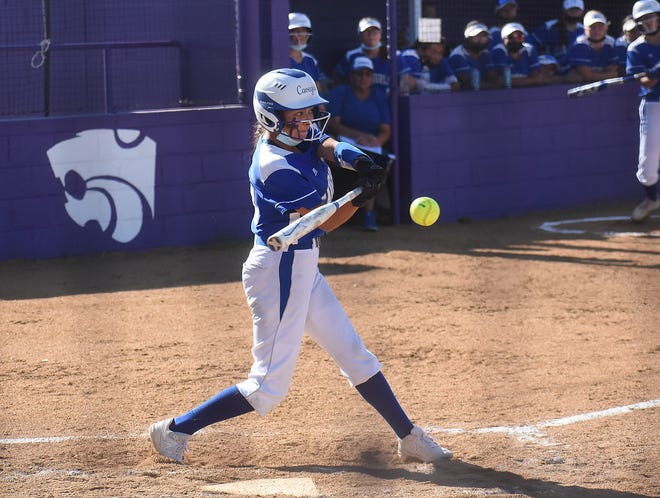 Carlsbad's Hanna Martinez hits an RBI double in the first inning of Thursday's game at Clovis.