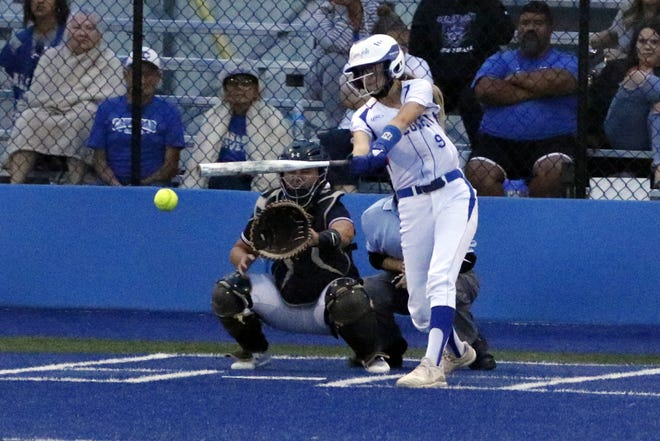 Jessica Munro hits against Clovis on June 1, 2021. This season Munro is batting .403 with 20 RBIs including a home run and scored 25 runs.