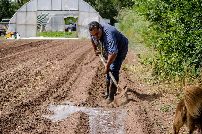Ralph Vigil works on his farm in Pecos, New Mexico.