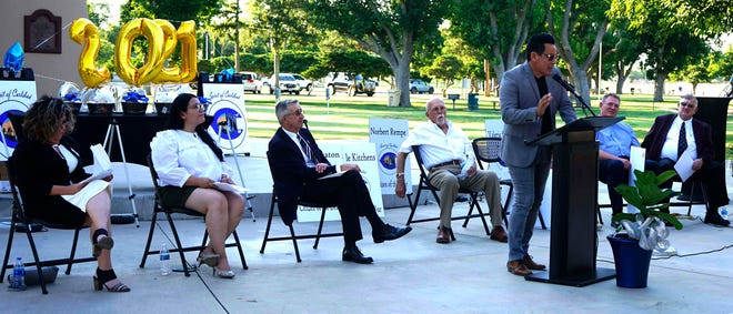 Ricky Garcia speaks during the Spirit of Carlsbad award ceremony, June 17, 2021 in at the Carlsbad Beach Band Shell.
