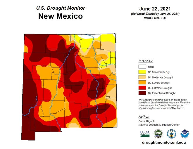 The U.S. Drought monitor for New Mexico shows widespread drought as of June 22, 2021.