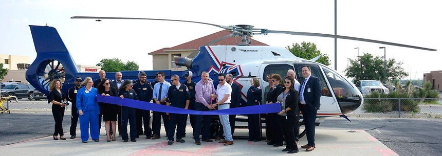 Dignitaries gather for a ribbon cutting onJuly 22, 2021at Carlsbad Medical Center. Native Air moved its helicopter operations fromCavern City Air Terminalto the hospital.