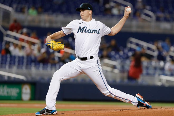 Miami Marlins starting pitcher Trevor Rogers (28) delivers a pitch against the Toronto Blue Jays during the first inning Wednesday, June 23, at loanDepot Park in Miami.