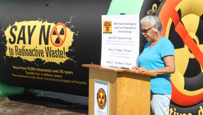 Rose Gardener, of Eunice, speak in opposition of a proposed interim nuclear waste storage facility at a news conference Wednesday, April 11, 2018.