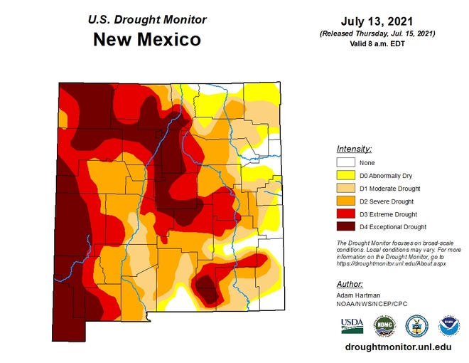 The U.S. Drought Monitor for New Mexico as of July 13, 2021