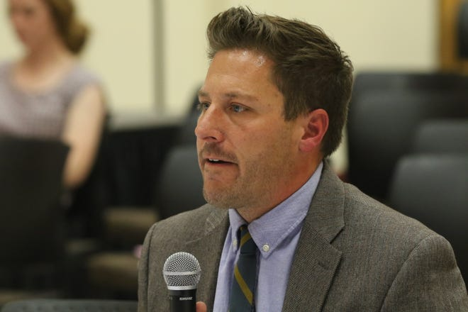 Matt Baca, general counsel at the New Mexico Attorney General's Office speaks to lawmakers about Holtec International's proposal to build a nuclear waste storage facility near Carlsbad, July 14, 2021 at New Mexico State University Carlsbad.