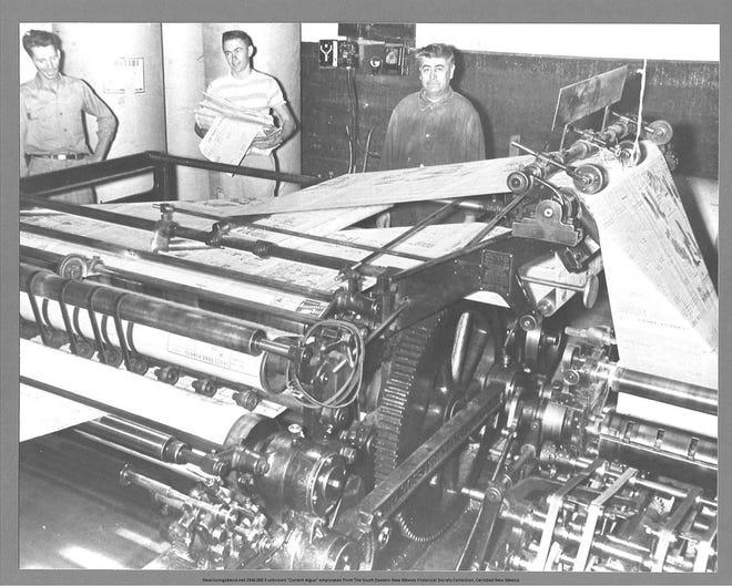 Pressmen at the Current-Argus. Circa 1946.