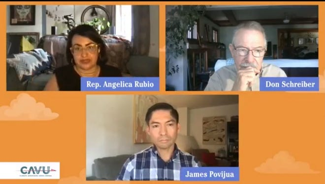 New Mexico State Rep. Angelica Rubio (top left) participates in a panel discussion on environmental issues, July 29, via Facebook Live.