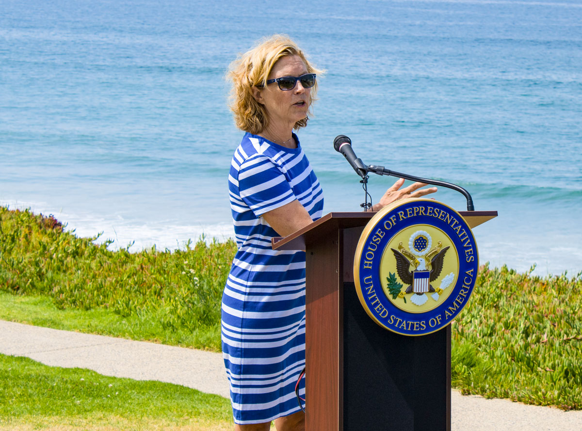 Del Mar Mayor Terry Gaasterlandspeaks during a press conference Tuesday morning at Seagrove Park in Del Mar. Photo by Bill Slane