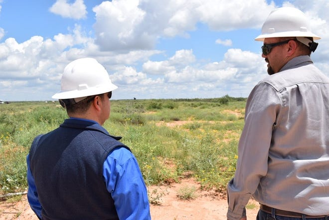 U.S. Sen. Ben Ray Lujan (D-NM) meets with workers at an abandoned oil wells, Aug. 17, 2021 in Hobbs.