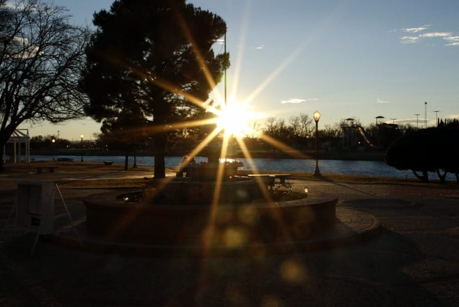 The sun sets on Dec. 14, 2019 on the Pecos River in Carlsbad, NM.