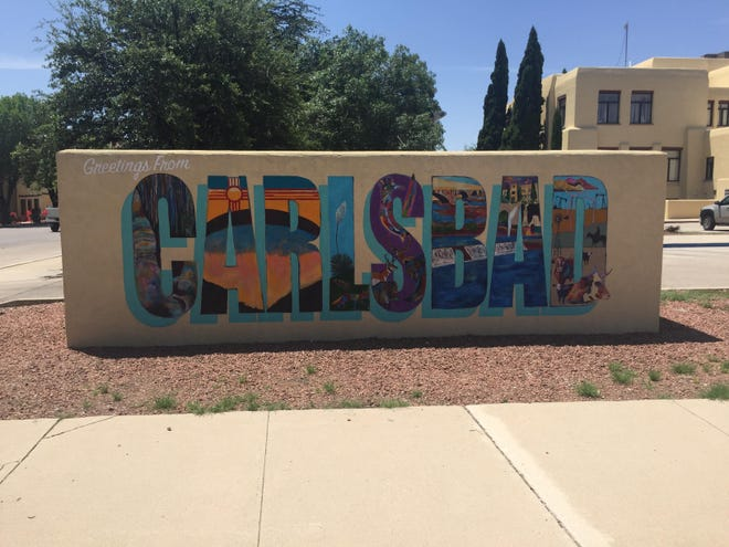 """The """"Greetings from Carlsbad"""" mural greets visitors to downtown Carlsbad."""