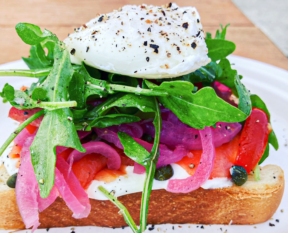 The amazing Lox Toast with poached egg at Queenstage Coffee & Breakfast House in Encinitas. Photo by David Boylan