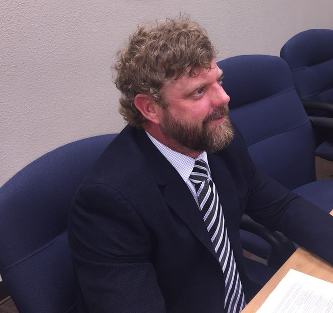 Ward 4 Carlsbad City Council Wesley Carter during the Aug. 24, 2021 Carlsbad City Council meeting. Councilors approved a five year spending guide for future public works projects.