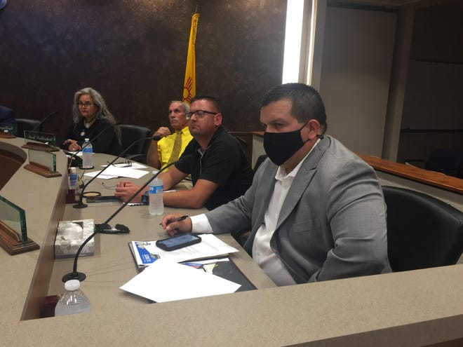 From left:Carlsbad City Councilors Lisa Anaya-Flores, Mark Walterscheid, Jason Shirley and JJ Chavez listen to a presentation during the Aug. 10, 2021 Carlsbad City Council meeting.
